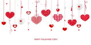 Glückliche Valentinstaggrußkarte mit hängenden Herzen des Grenzdesigns vector Hintergrund Lizenzfreies Stockbild