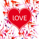 Glückliche Valentinstagkarte, Design mit buntem Aquarell befleckt Lizenzfreie Stockbilder