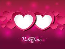 Glückliche Valentinstagkarte (Doppelherz der Liebe) Stockfoto