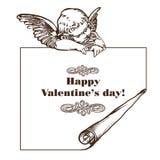 Glückliche Valentinstagkarte mit Amor Lizenzfreie Stockfotografie