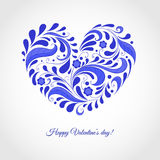 Glückliche Valentinstagkarte mit blauem Herzen Stockbilder