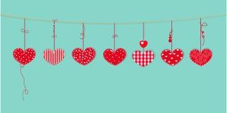 Glückliche Valentinstagkarte mit dem Grenzdesign, das rote Herzen hängt, vector Hintergrund vektor abbildung