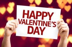 Glückliche Valentinstagkarte mit Herz bokeh Hintergrund Stockbild