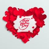 Glückliche Valentinstagvektor-Grußkarte, Bürstenstiftbeschriftung auf weißer Fahne Lizenzfreies Stockfoto