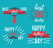 Glückliche Vater ` s Tagfahne und giftcard Auch im corel abgehobenen Betrag Stockbilder