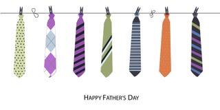 Glückliche Vatertags-Grußkarte mit hängendem Bindungsvektor Stockbild
