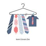 Glückliche Vatertags-Grußkarte mit hängender Bindung und Hemd vector Hintergrund Lizenzfreie Stockbilder