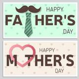Glückliche Vatertags-Grußkarte und glückliche Muttertaggrußkarte Vektor Stockfotos
