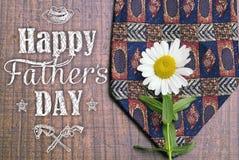 Glückliche Vatertags-Grußkarte Vatertagshintergrund Feiertagskarte mit lokalisierten grafischen Elementen, Text, Bindung, Gänsebl Stockbilder