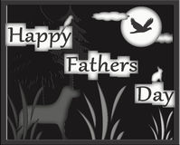 Glückliche Vatertags-Jäger, die Notecard grüßen Stockfotos