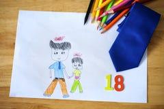 Glückliche Vatertagskarte Kinderzeichnungs-mit polnischen Wörtern: Vater ' lizenzfreie stockfotos