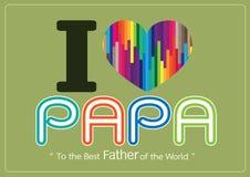 Glückliche Vatertagskarte, Liebe PAPA oder VATI lizenzfreie abbildung