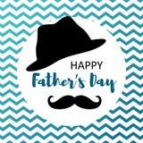 Glückliche Vatertagskarte mit dem Schnurrbart und Hut stock abbildung
