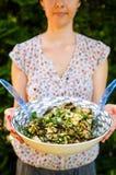 Glückliche vegetarische Frau mit Salat lizenzfreie stockfotografie