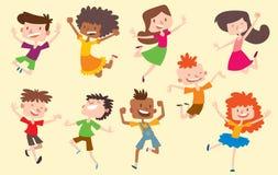 Glückliche Vektorkinder scherzt springende nette Jungen- und Mädchensammlung der Haltungen Springende nette Kindergruppe und lust Lizenzfreies Stockfoto
