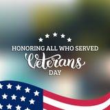 Glückliche Veteranen-Tagesbeschriftung mit USA kennzeichnen Vektorillustration 11. November Feiertagshintergrund Feierplakat stock abbildung