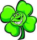Glückliche vier Blatt-Klee-Karikatur mit einem großen Lächeln Lizenzfreie Stockfotos