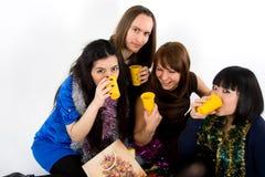 Glückliche vier Freunde Stockfoto