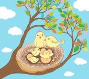 Glückliche Vogelfamilienillustration Lizenzfreie Stockfotografie