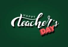 Glückliche weiße Aufschrift der Lehrertaghandbriefgestaltung auf einer grünen Tafel, handdrawn Typografieplakat lizenzfreie stockfotos