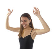 Glückliche wellenartig bewegende Arme der jungen Frau in der Luft. Lizenzfreies Stockbild