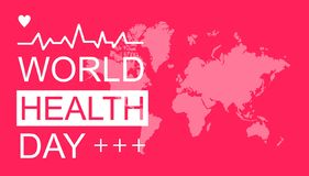 Glückliche Weltgesundheitstagesgrußkarte mit rotem Hintergrund lizenzfreie abbildung