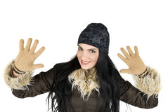 Glückliche Winterfrau Stockbilder