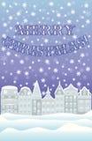 Glückliche Winterkarte der frohen Weihnachten Stockbilder