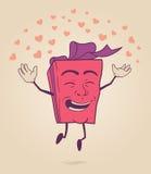 Glückliche Zeichentrickfilm-Figur der Valentinsgrußgeschenkbox Lizenzfreies Stockfoto