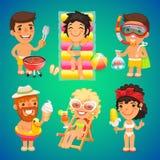 Glückliche Zeichentrickfilm-Figuren auf dem Strand Stockbild