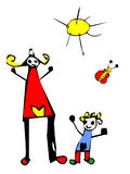 Glückliche Zeit: Kindzeichnung der Mammas und der Tochter Lizenzfreie Stockbilder