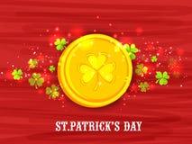 Glücklichen St Patrick Tagesfeier mit Goldmünze Stockfotografie