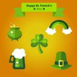 Glücklichen St Patrick Tagesflacher Satz Ikonen Lizenzfreie Stockfotografie