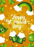 Glücklichen St Patrick Tagesgrüne und gelbe Postkarte Lizenzfreies Stockfoto