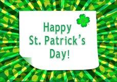 Glücklichen St Patrick Tagesgrußkarte Lizenzfreie Stockfotografie