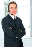 Glücklicher älterer Kundendienst-Repräsentant Lizenzfreie Stockfotos