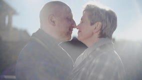 Glücklicher älterer Paarblick auf einander, Nasen und die Stirn der alten kahlen Mannkussfrau mit Liebe berührend, Leidenschaft u
