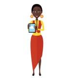 Glücklicher AfroamerikanerGeschäftsfraucharakter mit der Tablette flach Lizenzfreies Stockfoto
