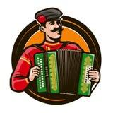 Glücklicher Akkordeonspieler im nationalen Kostüm, das ein Musikinstrument spielt Russische Folklore, Musikkonzept karikatur vektor abbildung