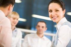 Glücklicher Arbeitgeber lizenzfreie stockfotos