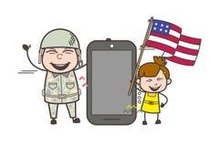 Glücklicher Armee-Mann mit Smartphone und Kind, das US-Flaggen-Vektor-Illustration hält stock abbildung