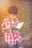 Glücklicher asiatischer Junge, der ein Buch liest getrennte alte Bücher Abbildung der roten Lilie Lizenzfreie Stockfotos