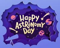 Glücklicher Astronomie-Tag Grußkarte mit dem Beschriften von glücklichem Astronom stock abbildung
