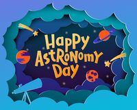 Glücklicher Astronomie-Tag Grußkarte mit dem Beschriften von glücklichem Astronom vektor abbildung