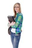 Glücklicher attraktiver blonder weiblicher Kursteilnehmer, getrennt Stockbild