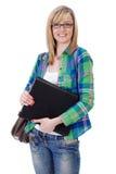 Glücklicher attraktiver blonder weiblicher Kursteilnehmer, getrennt Stockfotografie