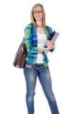 Glücklicher attraktiver blonder weiblicher Kursteilnehmer, getrennt Lizenzfreie Stockfotos