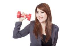 Glücklicher Aufzug der asiatischen Geschäftsfrau ein Dummkopf mit einer Hand Lizenzfreie Stockfotografie