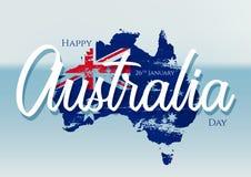 Glücklicher Australien-Tag mit Schmutzflagge auf Karte von Australien auf einem unscharfen Ozeanhintergrund Auch im corel abgehob stock abbildung