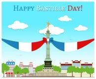 Glücklicher Bastilletag Stockfoto
